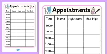 Hairdressers Role Play Appointment Sheet - Hairdresser Role Play, salon role play, hairdresser resources, salon resources, hairdryer, hairdresser, stylist, customer, hairstyle, role play, display, poster