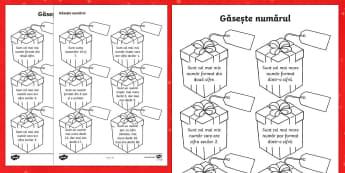 Cadouri cu mesaj Descoperă numărul - Christmas, romanian, Crăciun, Moș Crăciun, cadouri, dar, brad, material didactic, materiale, resu