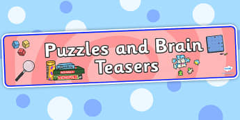 Puzzles and Brain Teasers Display Banner - puzzles, brain, teasers, display, sign, poster, banner