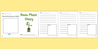 Bean Plant Diary Writing Frames - Bean Plant Diary, Bean, writing template, writing frames, word cards, flashcards, template, growth, plant, life cycle, lifecycle, diary, plant growth, beans, garden, Topic, Foundation stage, knowledge and understandi