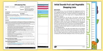 EYFS Hears Initial Sounds Fruit and Vegetable Shop Role Play Adult Input Plan and Resource Pack