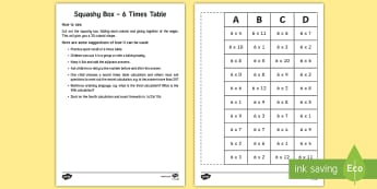 Squashy Boxes 6 Times Tables Craft - ireland, northern ireland, squashy boxes, squashy box, times tables, craft, box, activity, 6x