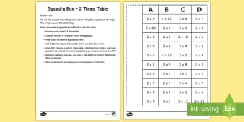 Squashy Boxes 2 Times Table Craft - squashy boxes, squashy box, 2 times table, times table, craft, activity