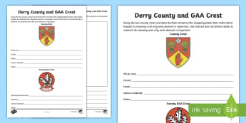 Derry County and GAA Crest Activity Sheet - county, crest, coat of arms, Derry, Londonderry,