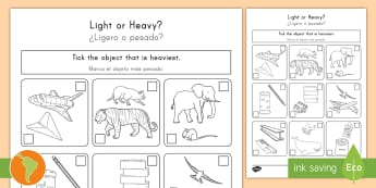 Heavy or Light Activity Sheet US English/Spanish (Latin) - Measurement, worksheet, weight, mass, weighing, measures, comparing, compare, ssm, ks1, y1, year 1,