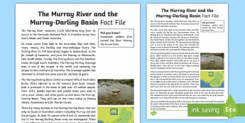 The Murray River Fact Sheet-Australia - Water in Australia, Murray River, Murray Darling River, Basin, sustainability, Murray Darling Basin,