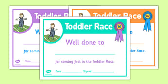 Sports Day Toddler Race Certificates - sports day, certificates