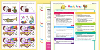Music Area Continuous Provision Plan Poster and Challenge Cards Pack Reception FS2