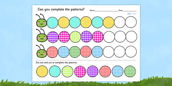 Differentiated Complete the Caterpillar Pattern Worksheet