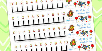 Chinese New Year Number Line 0-10 - chinese new year, numberline