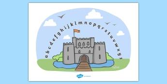 Castles and Knights Alphabet Arc - Alphabet Arc, castle, mat, DfES Letters and Sounds, Letters and sounds, Letters A-Z, Learning Letters, Phase one, Phase 1 Foundation Letters