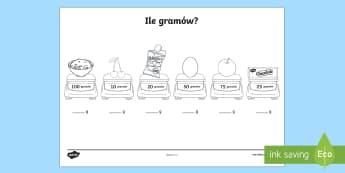 Karta Ile gramów? - ważyć, mierzyć, miara, waga, gramy, kilogramy, matematyka,Polish