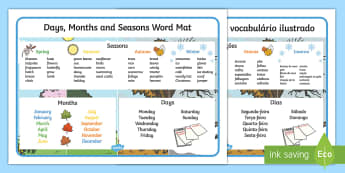 Days, Months and Seasons Word Mat English/Portuguese - Days, Months and Seasons Word Mat - days, months, seasons, word mat, seaons, wordmat, eal