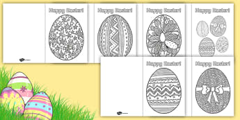 Easter Egg Mindfulness Greetings Cards - KS1 & 2 Easter 2017 (16th April), colour, stress relief, blank, greeting, celebration