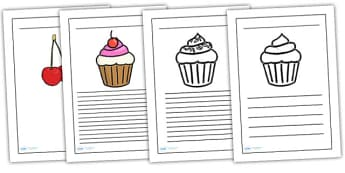 Cupcake Themed Writing Frames - cupcake, writing frames, writing guides, writing aid, writing template, line guides, guides, themed writing frames