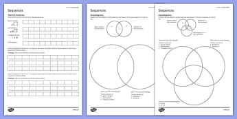 KS3_KS4 Maths Student Led Practice Sheets Sequences - maths, KS3, KS4, GCSE, worksheet, practise, independent, growth mindset, algebra, sequences, prime numbers, triangular numbers, cube numbers, multiples, factors, venn diagram