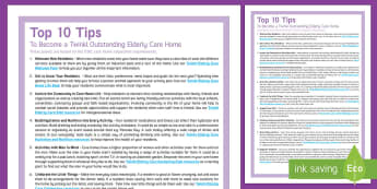 How to Become an Outstanding Elderly Care Home Top Tips - Top 10 Tips, Advice, Ideas, Support, Carers, Activity Co-ordinators, Agency Care Staff, Outstanding,