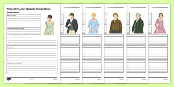 Pride and Prejudice Character Revision Activity Sheet Pack, worksheet