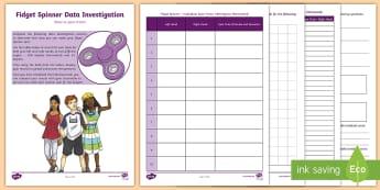 Fidget Spinner Data Investigation Activity Booklet - Fidget Spinner Resources, fidget spinner, toys, maths, mathematics, data investigation, data, statis