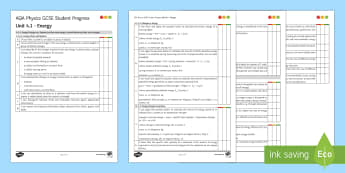 AQA Physics Unit 4.1 Energy Student Progress Sheet - Student Progress Sheets, AQA, RAG sheet, Unit 4.1 Energy