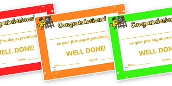 First Day Award Certificates (Kindergarten & Pre-school) - First day, award, scroll, reward, award, certificate, medal, rewards, school reward, pre-school, kindergarten