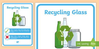 Recycling Glass Display Poster - tidy kiwi, New Zealand, rubbish, recycling, Years 1-6, glass, display poster