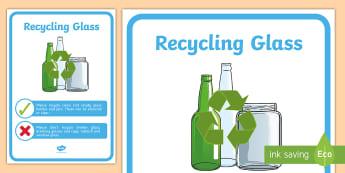 Recycling Glass Display Poster - tidy kiwi, New Zealand, rubbish, recycling, Years 1-6, glass, display poster
