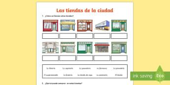 Shops in Town Activity Sheet Spanish - Spanish KS2, shops, town, shopping ,activity sheet, worksheet