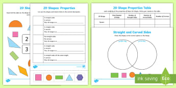 Properties Of 2D Shapes Activity Sheets - 2d, shapes, activity, worksheet