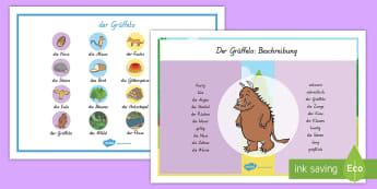 Wortschatz Querformat für das Unterrichtsthema der Grüffelo - Grüffelo, Wortschatz, Lernhilfe,German