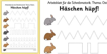 Häschen hüpf! Bunny Hop Pencil Control Worksheets German - german, easter, fine motor skills
