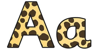 Cheetah Pattern Display Lettering (Small) - safari, safari lettering, safari display lettering, cheetah lettering, cheetah pattern lettering, cheetah