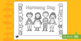 Harmony Day Mindfulness Colouring Page - Harmony Day - Australia 21st March, Australia