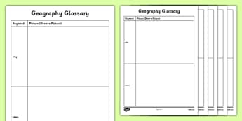Human Geography KS1 Picture Glossary Activity