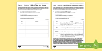 AQA Eng Lang P1 Q3 Identifying Key Words Activity Sheet - AQA GCSE Specific Question Resources, structure, language