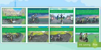 Cartes de défis de mathématiques : Le Tour de France  - problèmes, maths, travail de groupe, group work, KS2, calculs, conversions, opérations,French