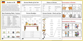 Learn German Worksheet Starter Pack - german, learn german, worksheet, starter pack
