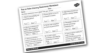 True or False Literacy Statements Worksheet - true or false literacy worksheet, true or false worksheet, literacy worksheet, text type facts, literacy facts, ks2
