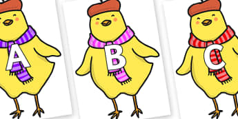 A-Z Alphabet on Chicken Licken - A-Z, A4, display, Alphabet frieze, Display letters, Letter posters, A-Z letters, Alphabet flashcards