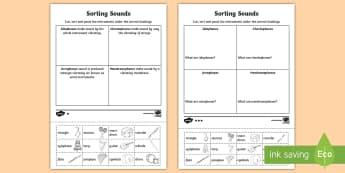 Sorting Sounds Activity Sheet - aerophones, sound science, membranophones, instruments, idiophones, worksheet, chordophones, classif