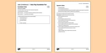 Les métiers et les projets 1 Jeu de rôle Foundation Tier - co-ordinating conjunctions, conjunctions, connectives
