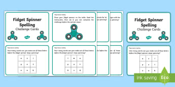 Fidget Spinner KS1 Spelling Challenge Cards - Spelling, Phonics, Literacy,Writing, Play, Timed, Game, Active Learning