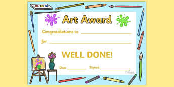 Art Award Certificate - Art Award Certificate, Art, Arts, drawing, draw, paint, painting, creative, creativity