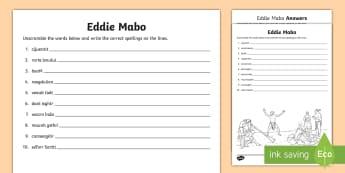 National Reconciliation Week Eddie Mabo Word Unscramble - ks2, Aboriginal, Torres Strait Islander, let's take the next steps, 1967 referendum, Mabo decision