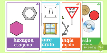 2D Shape Posters with Everyday Examples English/Italian - In the environment,  Shape poster, Shape flashcards, Shape recognition, Shapes in the environment, n