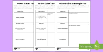 Wicked Witch House Advertisement Writing Template - property advertisement, poster, Hansel and Gretel, Wicked Witch, template, creative writing, activit