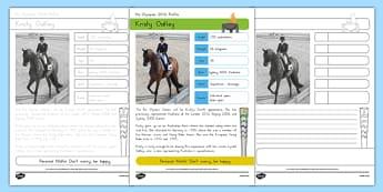 Australian Olympian Kristy Oatley Handwriting Practice Activity Sheet, worksheet