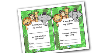Note From Teacher Brilliant Effort (Jungle Themed) - note from teacher brilliant effort, brilliant effort, note from teacher, notes, praise, comment, note, teacher, teacher's, parents, brilliant, effort, good effort, jungle, jungle themed, themed