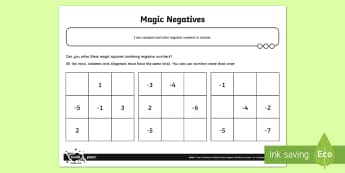 Magic Negatives Activity Sheet
