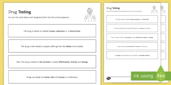 Drug Testing Sequencing Cards - Sequencing Cards, biology, gcse, drug, drugs, clinical trial, drug testing, medicine, medicinal drug